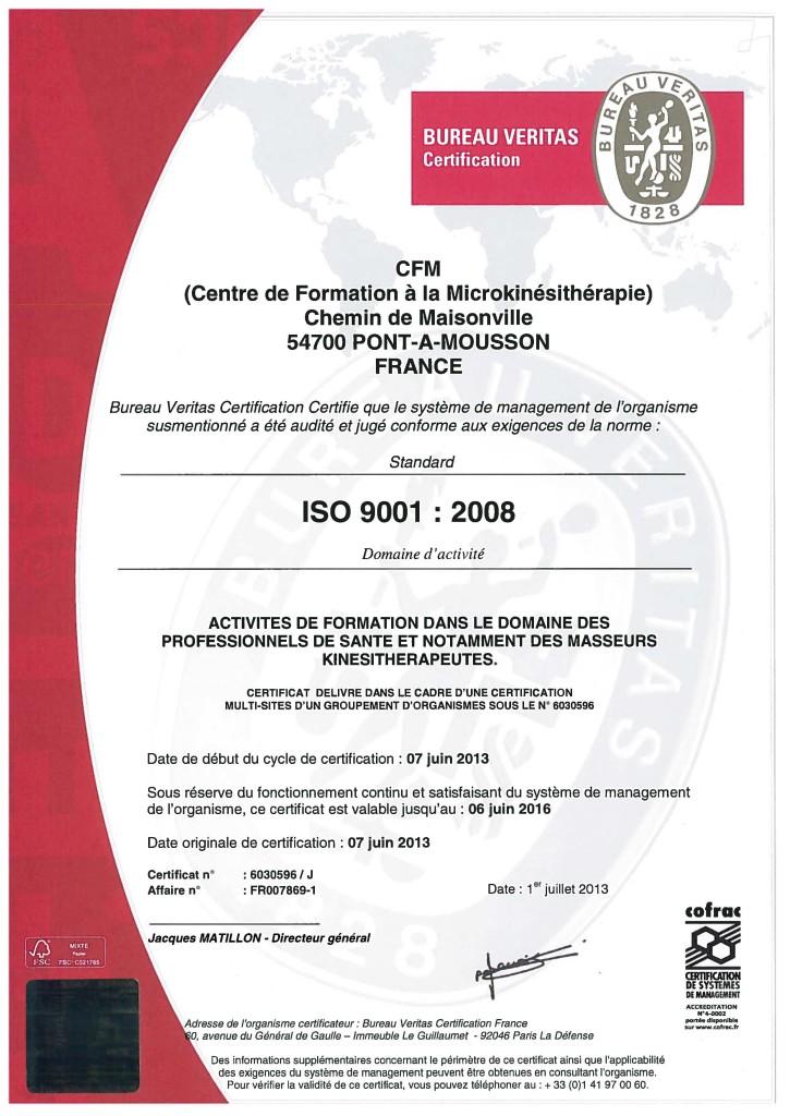 CFM-Certificat ISO 9001